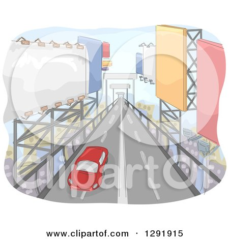 Clipart of a Lone Card Traveling down a Road of Giant Billboards - Royalty Free Vector Illustration by BNP Design Studio