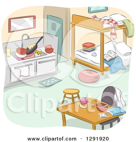 Clipart of a Messy Studio Apartment Interior with Bunk Beds - Royalty Free Vector Illustration by BNP Design Studio