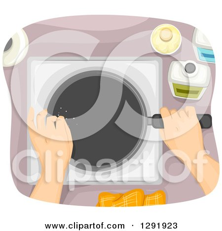 Clipart of an Aerial View of Hands Cooking with a Frying Pan - Royalty Free Vector Illustration by BNP Design Studio