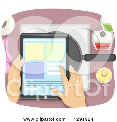 Clipart of an Aerial View of Hands Looking at a Recipe on a Tablet Computer over a Frying Pan - Royalty Free Vector Illustration by BNP Design Studio