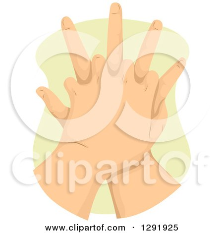 Clipart of Caucasian CPR Hands - Royalty Free Vector Illustration by BNP Design Studio