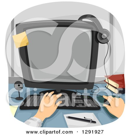 Clipart of Caucasian Hands Working on a Desktop Computer - Royalty Free Vector Illustration by BNP Design Studio