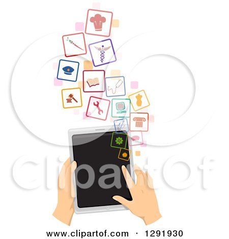 Clipart of Caucasian Hands Using a Tablet Computer to Search for a Job - Royalty Free Vector Illustration by BNP Design Studio