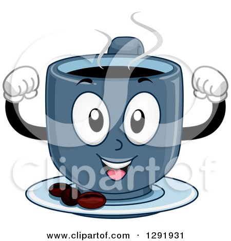 Clipart of a Cartoon Happy Blue Hot Strong Coffee Character Flexing Muscles - Royalty Free Vector Illustration by BNP Design Studio