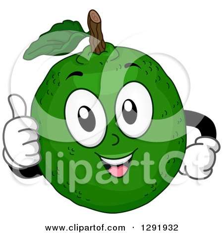 Clipart of a Cartoon Happy Lime Citrus Fruit Character Giving a Thumb up - Royalty Free Vector Illustration by BNP Design Studio
