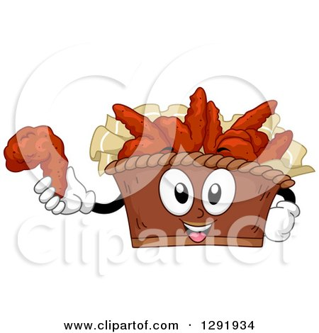 Clipart of a Cartoon Happy Bucket of Buffalo Wings Character Holding a Piece - Royalty Free Vector Illustration by BNP Design Studio