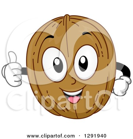 Clipart of a Cartoon Happy Walnut Character Holding a Thumb up - Royalty Free Vector Illustration by BNP Design Studio
