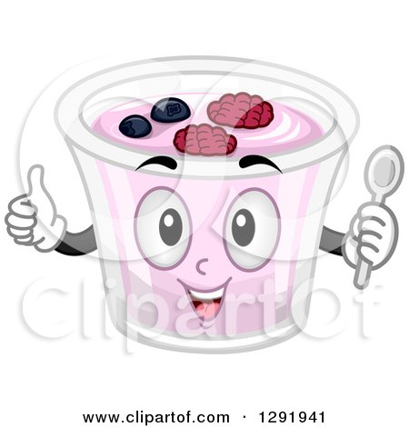 Clipart of a Cartoon Happy Fruit Yogurt Character Holding a Thumb up and a Spoon - Royalty Free Vector Illustration by BNP Design Studio