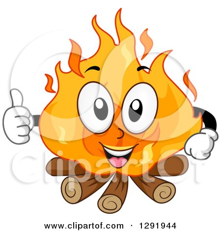 Clipart of a Cartoon Happy Campfire Character Giving a Thumb up - Royalty Free Vector Illustration by BNP Design Studio