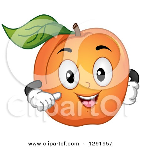 Clipart of a Cartoon Happy Apricot Fruit Character Gesturing at Itself - Royalty Free Vector Illustration by BNP Design Studio