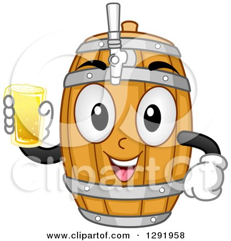Clipart of a Cartoon Happy Beer Keg Barrel Character Holding a Glass - Royalty Free Vector Illustration by BNP Design Studio