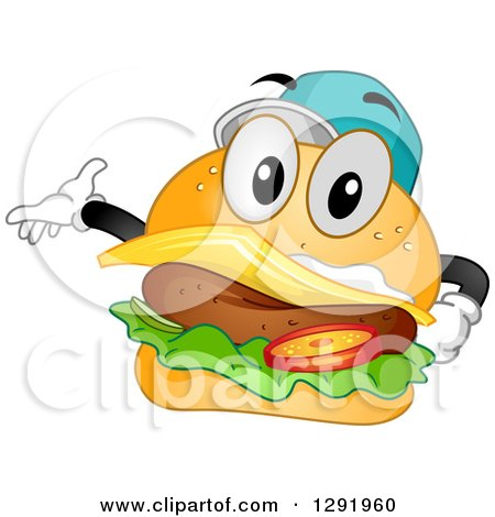 Clipart of a Cartoon Happy Cheeseburger Character Wearing a Baseball Cap and Presenting - Royalty Free Vector Illustration by BNP Design Studio