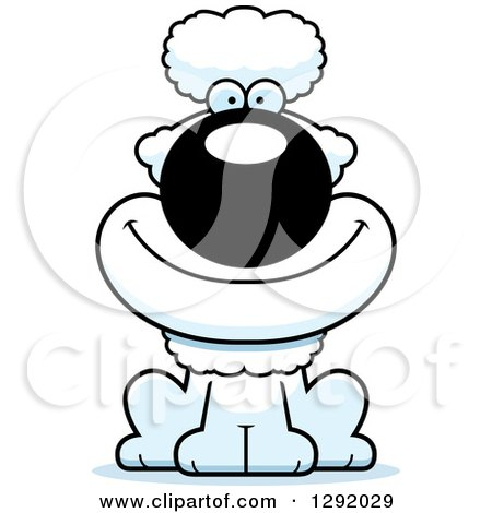 Clipart of a Cartoon Happy White Poodle Dog Sitting - Royalty Free Vector Illustration by Cory Thoman