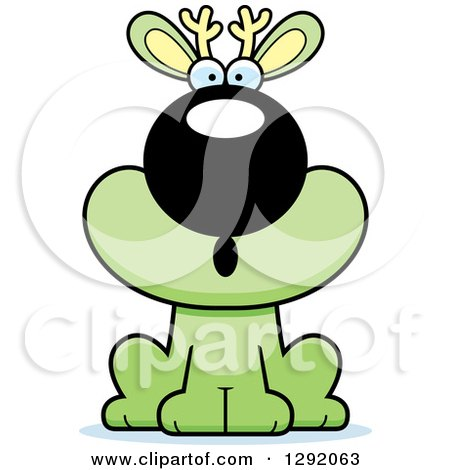 Clipart of a Cartoon Surprised Gasping Green Jackalope Sitting - Royalty Free Vector Illustration by Cory Thoman