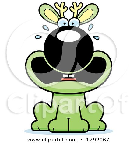 Clipart of a Cartoon Scared Screaming Green Jackalope Sitting - Royalty Free Vector Illustration by Cory Thoman