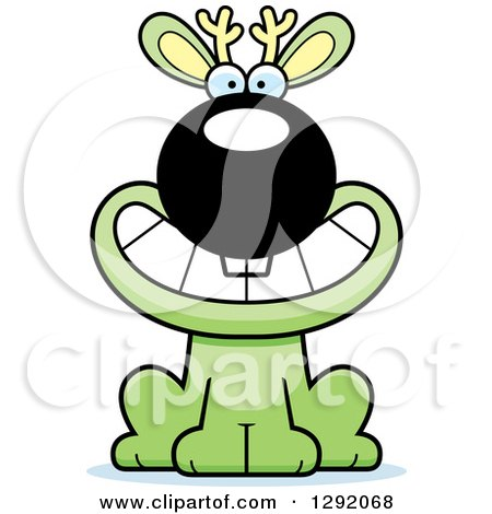 Clipart of a Cartoon Happy Grinning Green Jackalope Sitting - Royalty Free Vector Illustration by Cory Thoman