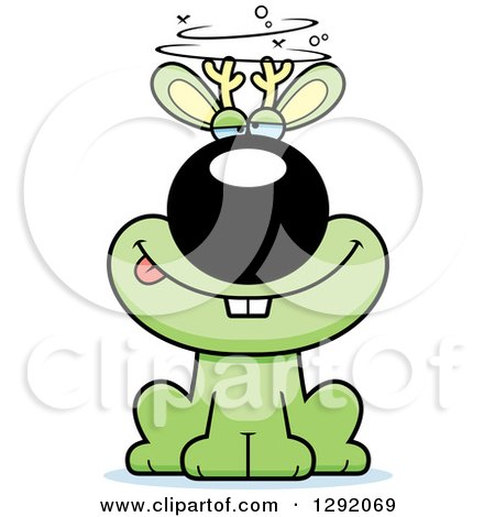 Clipart of a Cartoon Drunk or Dizzy Green Jackalope Sitting - Royalty Free Vector Illustration by Cory Thoman