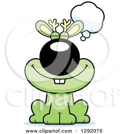 Clipart of a Cartoon Happy Dreaming or Thinking Green Jackalope Sitting - Royalty Free Vector Illustration by Cory Thoman