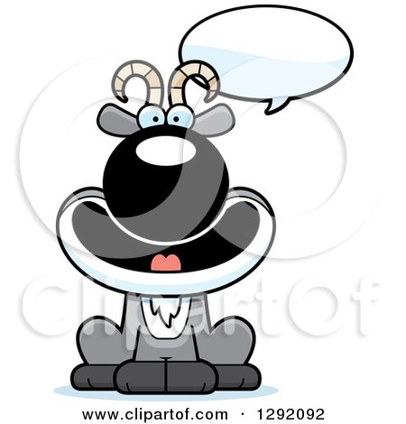 Clipart of a Cartoon Happy Talking Male Goat Sitting - Royalty Free Vector Illustration by Cory Thoman