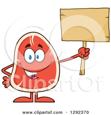 Food Clipart of a Cartoon Beef Steak Mascot Holding up a Blank Wooden Sign - Royalty Free Vector Illustration by Hit Toon
