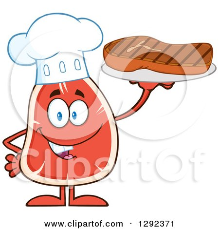 Food Clipart of a Cartoon Beef Steak Chef Mascot Holding Meat on a Plate - Royalty Free Vector Illustration by Hit Toon