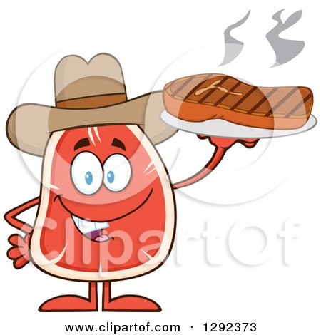 Food Clipart of a Cartoon Cowboy Beef Steak Mascot Holding Meat on a Plate - Royalty Free Vector Illustration by Hit Toon