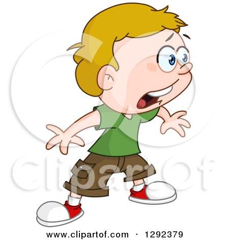 Cartoon Clipart of a Shocked Blond Caucasian Boy Facing Right - Royalty Free Vector Illustration by yayayoyo