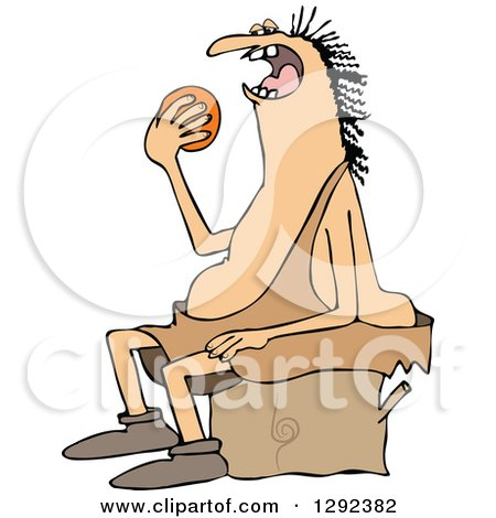 Clipart of a Chubby Caveman Sitting on a Stump and Eating an Orange - Royalty Free Vector Illustration by djart