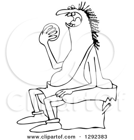 Clipart of a Black and White Chubby Caveman Sitting on a Stump and Eating an Orange - Royalty Free Vector Illustration by djart