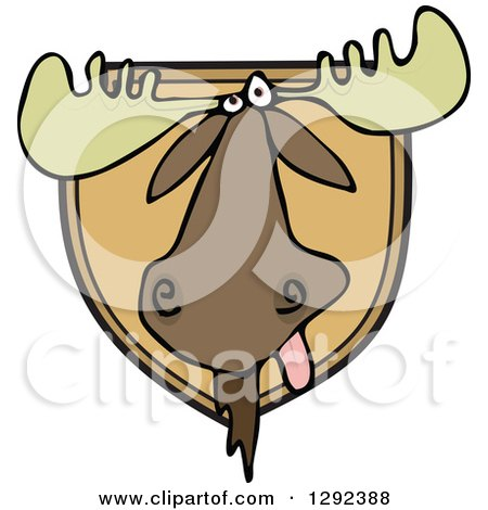 Clipart of a Trophy Hunting Mounted Moose Head - Royalty Free Vector Illustration by djart