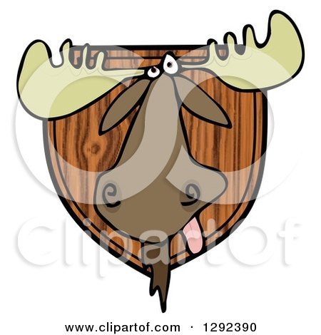 Clipart of a Trophy Hunting Moose Head Mounted on Wood - Royalty Free Illustration by djart