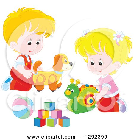 Clipart of Blond Caucasian Children Playing with a Toy Dog, Snail, Ball and Blocks - Royalty Free Vector Illustration by Alex Bannykh