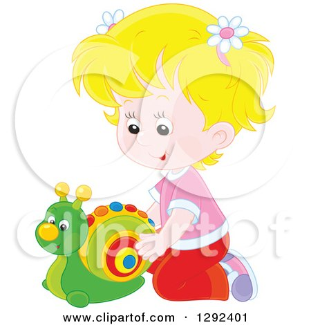 Clipart of a Blond Caucasian Girl Playing with a Toy Snail - Royalty Free Vector Illustration by Alex Bannykh