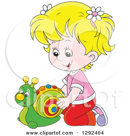 Clipart of a Blond White Girl Playing with a Toy Snail - Royalty Free Vector Illustration by Alex Bannykh