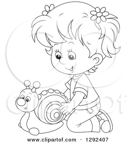 Clipart of a Black and White Girl Playing with a Toy Snail - Royalty Free Vector Illustration by Alex Bannykh