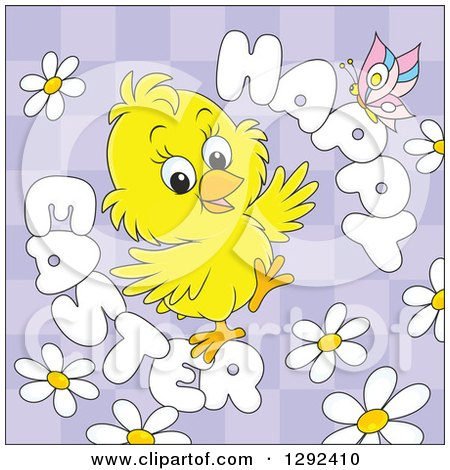 Clipart of a Happy Easter Greeting, Butterfly and Daisies Around a Chick on Purple Checkers - Royalty Free Vector Illustration by Alex Bannykh