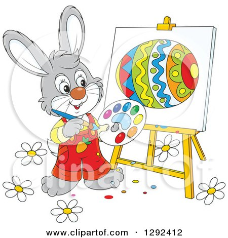 Clipart of a Happy Gray Easter Bunny Painting an Egg on an Easel - Royalty Free Vector Illustration by Alex Bannykh