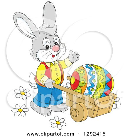 Clipart of a Happy Gray Easter Bunny Pushing a Giant Egg in a Wheelbarrow and Waving - Royalty Free Vector Illustration by Alex Bannykh