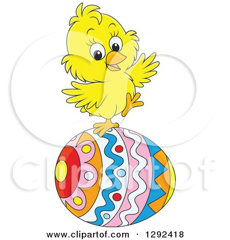 Clipart of a Happy Yellow Easter Chick Balancing on a Decorated Egg - Royalty Free Vector Illustration by Alex Bannykh