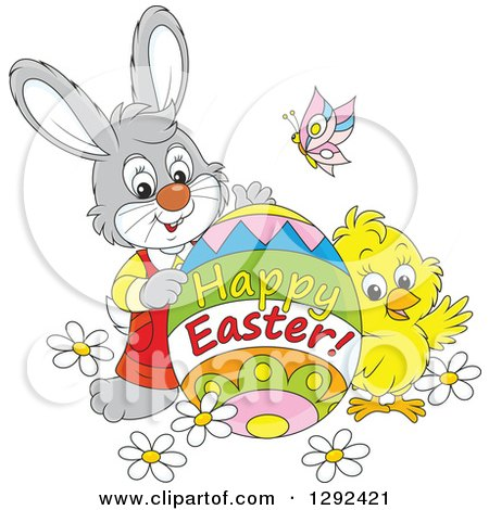 Clipart of a Gray Easter Bunny, Chick and Butterly with a Happy Easter Greeting Egg - Royalty Free Vector Illustration by Alex Bannykh