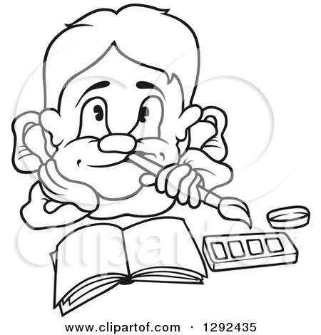 Clipart of a Black and White Cartoon Artist Boy Thinking over an Open Book - Royalty Free Vector Illustration by dero