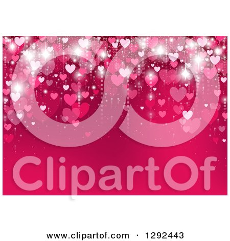 Clipart of a Gradient Pink Heart Background with Text Space - Royalty Free Vector Illustration by dero