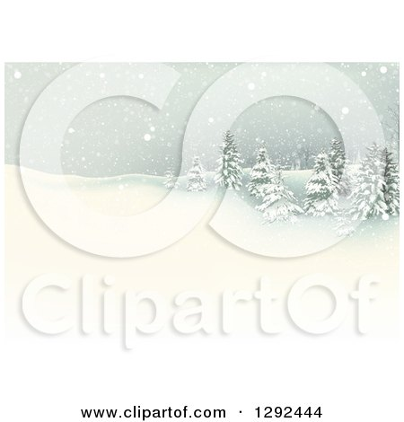 Clipart of a Snowy Winter Landscape with Flocked Evergreen Trees on a Hill - Royalty Free Vector Illustration by dero
