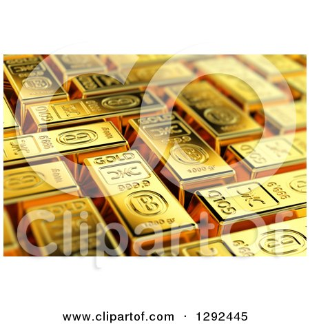 Clipart of a 3d Background of Gold Bars - Royalty Free Illustration by stockillustrations