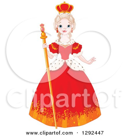 Clipart of a Pretty and Friendly Blond Caucasian Queen in a Red Dress - Royalty Free Vector Illustration by Pushkin