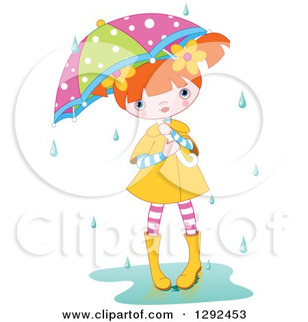 Clipart of a Red Haired White Girl with a Colorful Umbrella, Standing in a Puddle in the Rain - Royalty Free Vector Illustration by Pushkin