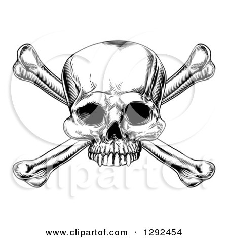 Clipart of a Black and White Engraved Skull and Crossbones - Royalty Free Vector Illustration by AtStockIllustration
