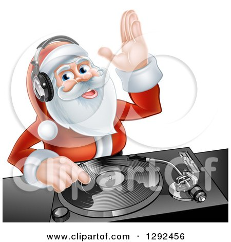 Clipart of a Happy Santa Claus Dj Mixing Christmas Music on a Turntable - Royalty Free Vector Illustration by AtStockIllustration