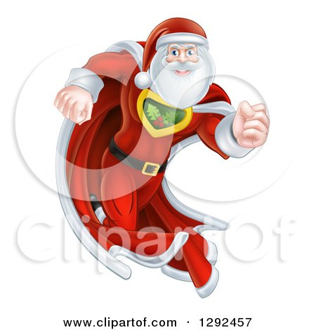 Clipart of a Super Hero Santa Claus Running in a Christmas Suit - Royalty Free Vector Illustration by AtStockIllustration