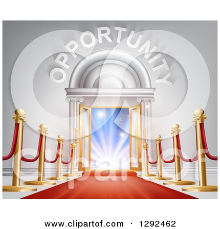 Clipart of a Red Carpet and Posts Leading to a Doorway with Bright Light and Opportunity Text - Royalty Free Vector Illustration by AtStockIllustration